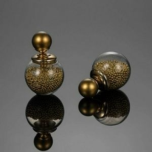 Jewelry - Double Faced Beaded Ball Back Earrings - Gold